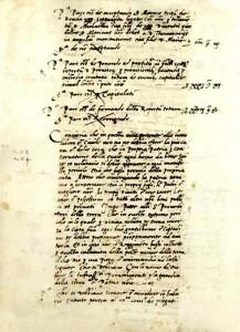 Početak odredbe od 7. II. 1527. o čuvanju grada za vrijeme kuge  (Državni arhiv u Dubrovniku, Acta Consilii Rogatorum, sv. 38, f. 212v)