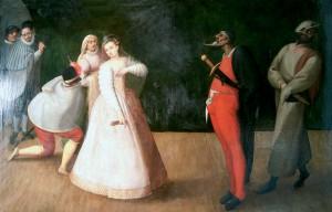 Predstava komedije dell'arte, trupa Gelosi, XVI. st. Pariz, Musée Carnavalet