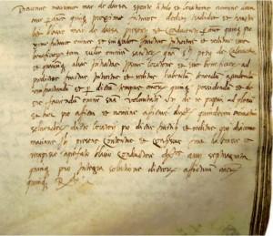 M. Držić ustupa bratu Vlahu prihode Svih Svetih (Domino) i Sv. Petra na Koločepu  (Državni arhiv u Dubrovniku, Diversa Cancellariae, sv. 131, f. 60r)