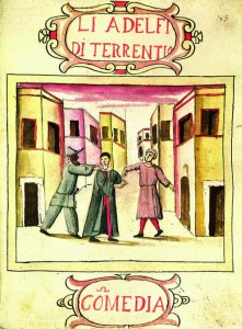 Objava za komediju dell'arte Li Adelfi di Terrentio