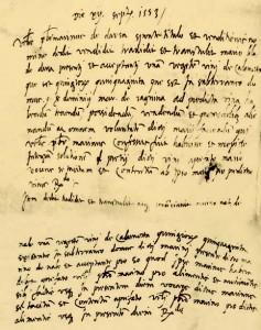 M. Držić ustupa Marinu Nalješkoviću 50 vjedara vina za hranu i uzdržavanje u njegovoj kući   (Državni arhiv u Dubrovniku, Diversa Cancellariae, sv. 138, f. 137r–137v)