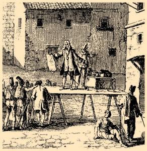 Putujući glumac najavljuje predstavu u Splitu, XVIII. st.