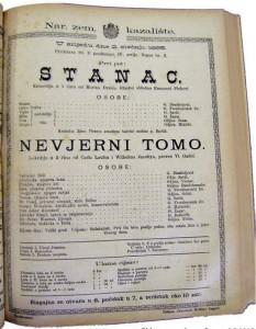 Objava za predstavu Stanac, 1895.