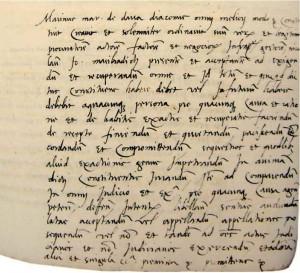 Ugovor M. Držića s Nikolom Mažibradićem  (Državni arhiv u Dubrovniku, Procurae de Notariae, sv. 16, f. 190r)